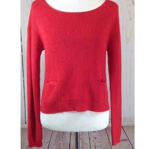 Rachel Roy Red Wool Blend Pullover Sweater Pockets